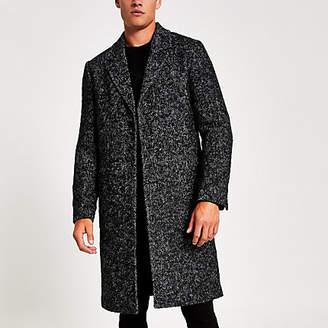 River Island Grey Herringbone wool overcoat