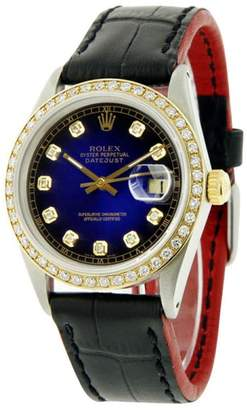 Rolex Datejust 16030 Stainless Steel & Blue Vignette Diamond Dial 36mm Mens Watch