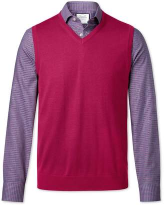 Charles Tyrwhitt Dark Pink Merino Wool Sweater Vest Size Large