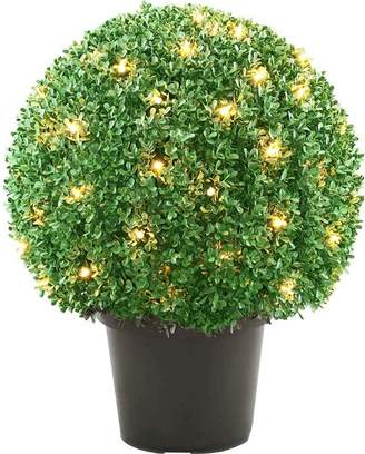 Co National Tree Pre-Lit Mini Boxwood Ball Topiary in Pot