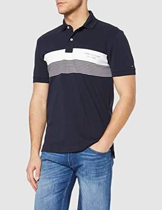 5ea347cf Tommy Hilfiger Men's Chest Print Regular Polo Shirt, Mehrfarbig (Sky  Captain/Bright White