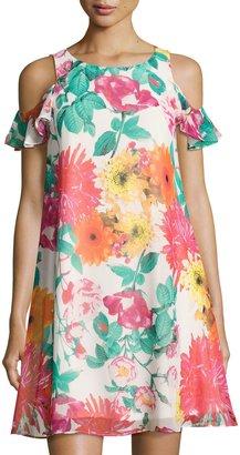 Eliza J Floral-Print Cold-Shoulder Dress, Pink Pattern $99 thestylecure.com