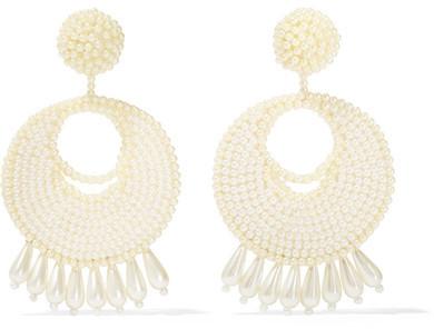 Kenneth Jay Lane - Faux Pearl Beaded Earrings - Off-white