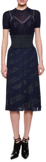 Bottega VenetaBottega Veneta Embellished-Yoke Pleated-Skirt Dress, Dark Lavender