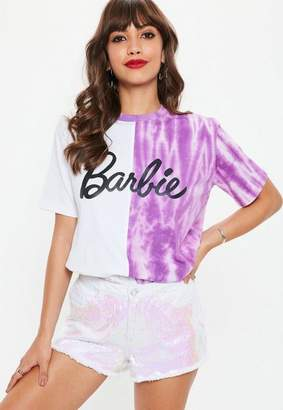 Missguided Barbie X White Tie Dye Color Block Logo T Shirt