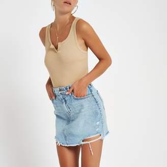 River Island Womens Blue ripped hem denim mini skirt