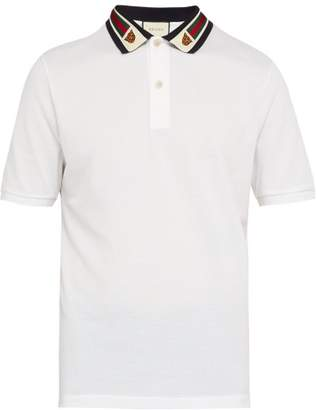 Gucci Striped Collar Polo Shirt - Mens - White Multi