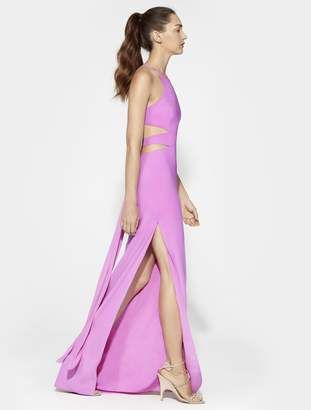 Halston Cut Out Tie Back Gown