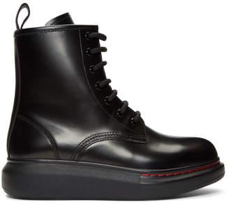 bb7784978ea84 Alexander McQueen Black Contrast Sole Combat Boots