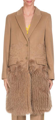 Givenchy Wool-Cashmere Lace Single-Breasted Coat with Fur Hem, Camel