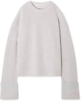 Stella McCartney Cold-shoulder Ribbed Wool Sweater - Light gray