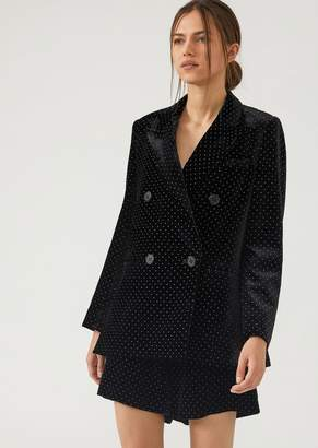 Emporio Armani Double-Breasted Velvet Jacket Studded With Crystals