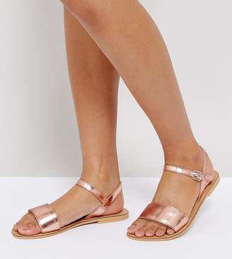 Asos FLIQUEY Wide Fit Leather Flat Sandals
