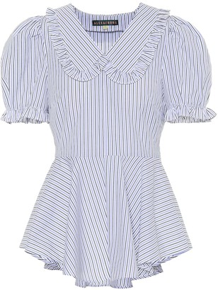 ALEXACHUNG Striped cotton blouse