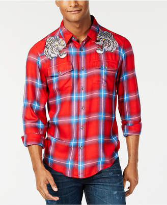GUESS Men's Tiger Plaid Shirt