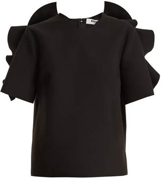 MSGM Ruffle-trimmed crepe top