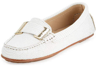 Delman Renna Lizard-Embossed Ornament Loafer $278 thestylecure.com