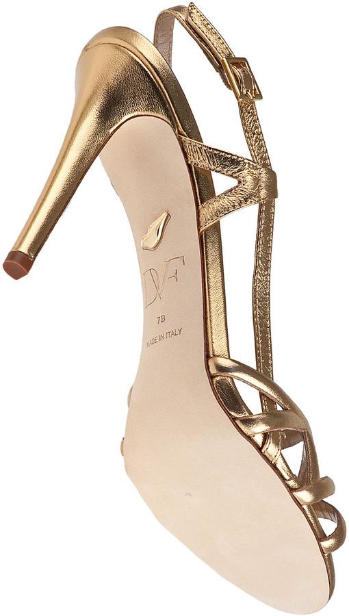Diane von Furstenberg Upton Evening Sandal Gold Leather