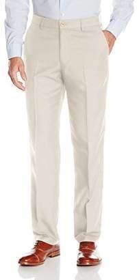 Haggar Men's Performance Micro Solid Gabardine Straight-Fit Plain-Front Dress Pant