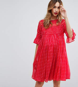 Asos Maternity Gingham Smock Dress With Shirring Detail