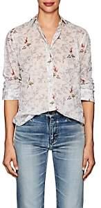 Saint Laurent Women's Floral Cotton Voile Shirt - Offwht