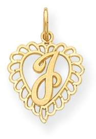 Black Bow Jewelry Company 14k Yellow Gold, Grace Collection, Satin Heart Initial J Pendant, 15mm