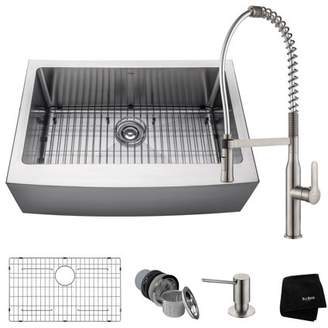 Kraus KRAUS Kitchen Combo with 30 Inch Single Bowl 16 Gauge Stainless Steel Kitchen Apron-Front Farmhouse Sink and Nola Commercial Kitchen Faucet with Soap Dispenser in Stainless Steel