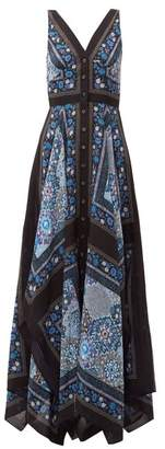 Altuzarra Duel Patchwork Print Silk Dress - Womens - Blue Multi