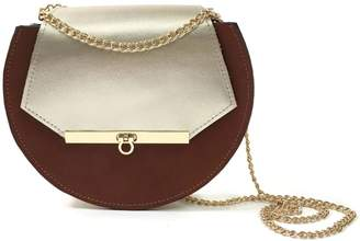 Angela Valentine Handbags Loel Mini Military Bee Chain Bag Clutch Cognac & Champagne Gold