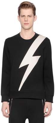 Neil Barrett Bolt Faux Leather & Neoprene Sweatshirt
