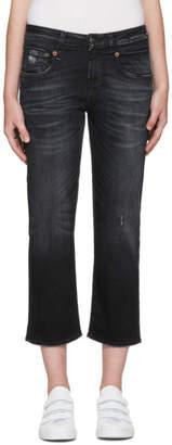 R 13 Black Straight Boy Jeans