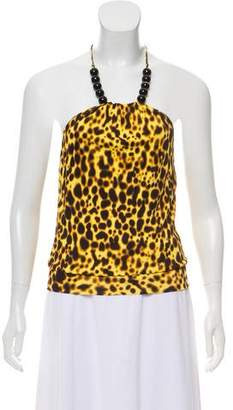 Versace Printed Embellished Halter Top