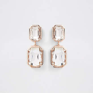 River Island Rose gold tone crystal jewel clip on earrings