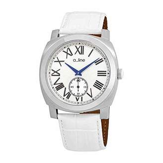 A Line a_line Women's 80007-02-WH Pyar Silver Textured Dial White Leather Watch