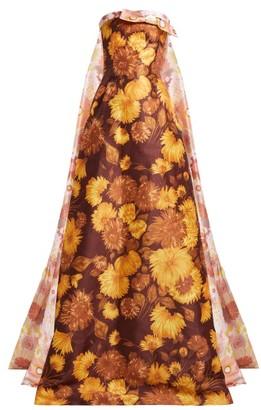 Richard Quinn - Asymmetric Floral Print Strapless Gown - Womens - Brown Print