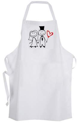 Unknown Wedding Bride & Groom Couple Black & Red Heart Adult Size Apron