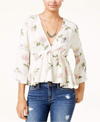American Rag Juniors' Printed Lace-Up Date Night Blouse, Created for Macy's $49.50 thestylecure.com
