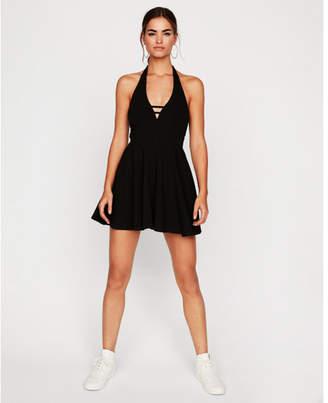 Express halter neck fit and flare skort dress