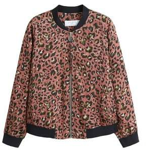 Violeta BY MANGO Leopard print bomber jacket