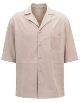 BOSS Hugo Lambskin Suede Shirt, Regular Fit Charon 36R Natural