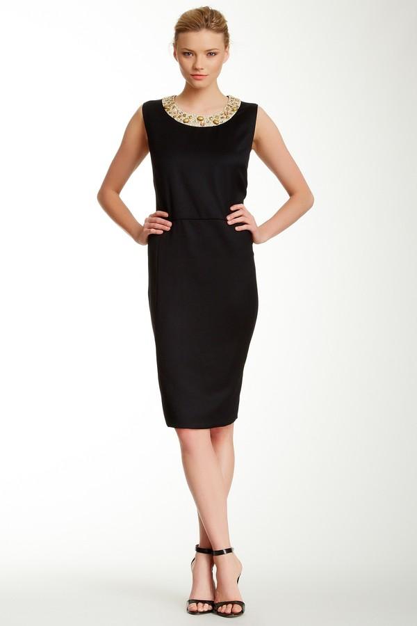 Bill Blass Embellished Collar Wool Dress