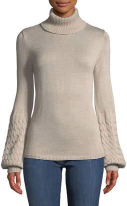 Neiman Marcus Turtleneck Balloon-Sleeve Sweater