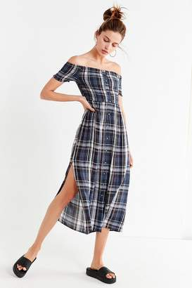 Urban Outfitters Monica Smocked Off-The-Shoulder Midi Dress