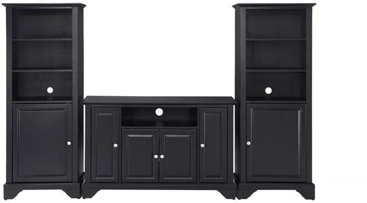 Crosley LaFayette TV Stand and 2-Audio Piers in Black