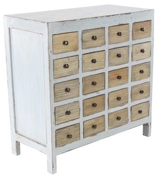 DecMode Decmode Rustic 20-Drawer Mahogany Wood Chest Cabinet, White