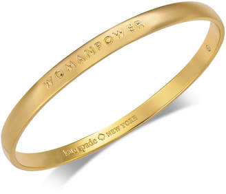 Kate Spade Gold-Tone Womanpower Engraved Bangle Bracelet