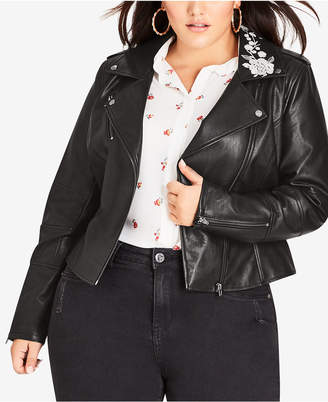 1aa596d4ee3 City Chic Trendy Plus Size Embroidered Faux-Leather Biker Jacket