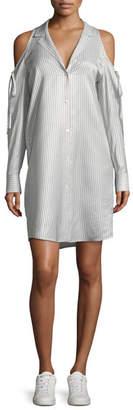 Alexander Wang Drapey Striped Button-Front Cold-Shoulder Shirt