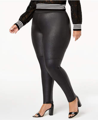INC International Concepts I.n.c. Plus Size Pebble-Texture Faux-Leather Smoothing Leggings, Created for Macy's