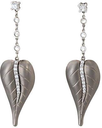 One Kings Lane Vintage Platinum Diamond Leaf Dangle Earrings - Precious & Rare Pieces